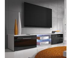 Design Ameublement - Meuble TV modèle Samoa blanc avec noir avec LED (150cm)