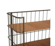 Etagère meuble de rangement 3 étages sur roulettes - Style Brocante - Coloris GRIS vieilli