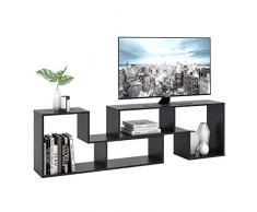 DEVAISE Meuble TV Bibliothèque en Bois de Salon Combinaisons Multiples 110cm L x 29cm l x 51cm H 2 pièces (d'épaisseur de 15mm) Noir