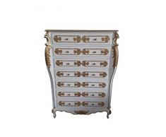 Louises Baroque Rokokoko Commode style ancien - Blanc - Hauteur 140 cm