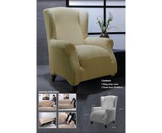 Ideal Textiles, stretch, Elastique, pour fauteuil à oreilles, lavable en machine, crème