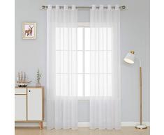Deconovo Lot de 2 Rideaux de Chambre Voilages Paire Rideaux à Oeillets pour Salon Design Moderne 132x214cm Blanc