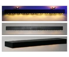 Noir étagères en bois flottant avec lumières LED