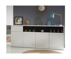 Demeyere 427638 Malia Enfilade 4 Portes/Tiroir Panneau Particule Blanc Brillant 202,9 x 41,6 x 86,5 cm