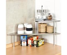 bremermann® Étagère de cuisine d'angle, étagère de cuisine, étagère à épices, inox