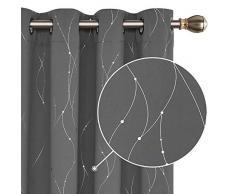 Deconovo Lot de 2 Rideaux Salon Occultants Rideaux Isolant Thermique Motif Point Argenté pour Chambre Fille à oeillet 117x138cm Gris Clair