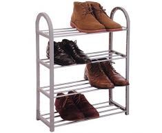 Etagère à Chaussures - 4 étages en métal - Meuble Rangement Chaussures - Gris