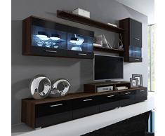 Design Ameublement - Meuble mural TV Claudia mod 11 wengué avec noir (250cm)