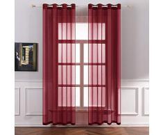 MIULEE 2 Panneaux Couleur Pure Rideaux De Fenêtre Transparents Lisse Élégant Panneaux Voile De Fenêtre Rideaux Traitement pour Chambre Salon Rideaux à Oeillets 140x225cm Rouge