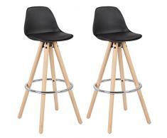 WOLTU® Lot de 2 Tabouret de bar en plastique siège tabouret de cuisine avec Repose-pied,Noir BH45sz-2