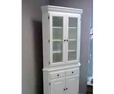 Armoire d'angle Kim MDV Armoire vitrine armoire style maison de campagne Blanc 66,5 x 66,5 x 213 cm
