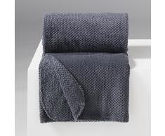 Douceur d'Intérieur Jeté de Canapé Flanelle Calinou Polyester/Jacquard Anthracite 150 x 125 cm