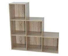 Compo Meuble de Rangement 6 Casiers en Escalier Bibliothèque Etagères Cubes Chêne 93 x 30 x 94 cm