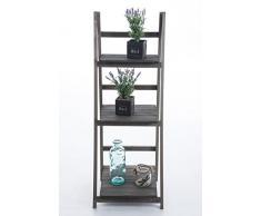 CLP Étagère escalier pliable YANA en bois, 3 grands espaces de rangement, usage possible dans plusieurs coins de la maison marron clair