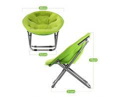 Folding chairZD Hyzb Chaise Grand Adulte Pliable Lune Chaise Soleil Chaise Verticale Coton détachable Paresseux canapé Rond inclinable Portable (Couleur Multiple) (Couleur : Green)