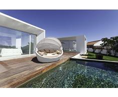 luxurygarden – Canapé de jardin rond en rotin Chaise longue Basma Blanc ameublement de jardin de terrasse de piscine