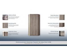 """Armoire d'angle """"Kontich"""" 08, Couleur: Chêne Truffe- Dimensions: 85 x 212 x 85 cm (L x H x P)"""