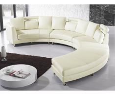 Canapé rond, Cuir crème, Sofa