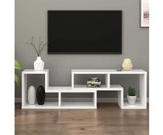 DEVAISE Meuble TV Bibliothèque en Bois de Salon Combinaisons Multiples 110cm L x 29cm l x 53cm H 2 pièces (d'épaisseur de 24mm) Blanc