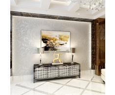 HANMERO Papier Peint Baroque Designe Damassé Classique Acanthe Feuille Flocage 3D PVC pour Salon TV Backdrop Chambre--- 0,53m*10m--- Gris-Argenté