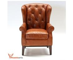 Fauteuil vintage en cuir chesterfield Fauteuil à oreilles en cuir véritable Design Lounge Fauteuil 546