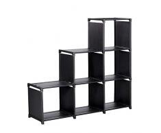 Bibliothèque à Compartiments, Étagère escalier, Meuble de Rangement, Séparateur, pour Salon, Chambre, Salle de Bain, Noir (6 casiers)