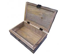 Boîte de rangement Bois massif style antique 23x15,5x8cm Coffre Trésor Accessoires décoration