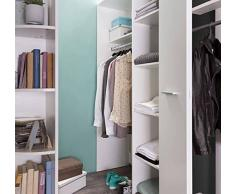 Armoire dressing d'angle VOLVERINE blanc/anthracite