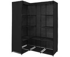 Armoire pliante KOANA, 169 x 130 x 45 cm, en plusieurs couleurs armoire garde-robe d'angle en tissu avec 12 compartiments et 2 tringles, Couleur:noir piano