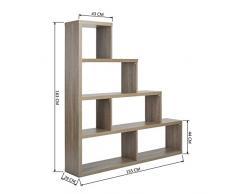 Etagère Escalier Bibliothèque Rangement 43/155x29x163cm 4 étages Design Mélaminé Chêne foncé