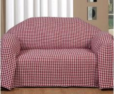 """Homescapes Jeté de canapé à franges en 100% coton couleur Rouge de 250 x 350 cm en motif Blanc """"pied de poule"""""""