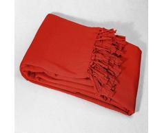 Le Jardin des Cigales Lana Jeté de Canapé A Franges Coton Tisse Corail 180 x 220 cm