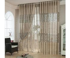 Fil de polyester Jacquard Demi-ombrage Salon Chambre Le produit fini Rideaux de fenêtre 1 Panneau , Outside yarn , 300*270cm