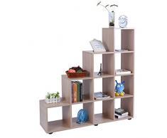 SOULONG Étagère Escalier de Rangement en Bois Bibliothèque Meuble de Rangement avec 10 Compartiments 114 x 30 x 116cm (chêne)