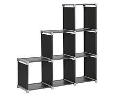 SONGMICS Étagère escalier de 6 Cases Bibliothèque Meuble de Rangement en Tissu Non-tissé 105 x 29 x 105 cm Noir LSN63H