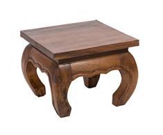 Table basse d'opium, 35x35x30 cm, artisanal, fait de massif bois, naturel