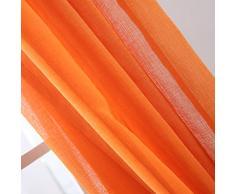 Deconovo® Lot de 2 Rideaux Voilages Aspect Lin à Oeillets pour Salon, 138 cm x 140 cm, Orange