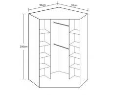 2 porte 8 Étagère avec 2 Portes Miroir Armoire d'Angle - En noyer et finition noir brillant - 8 Étagère et penderie étagère intermédiaire - Emballage à plat pour un Assemblage chez soi......