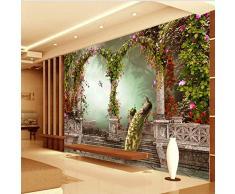 HONGYAUNZHANG Arc Floral Rond Custom Photo Wallpaper 3D Stéréoscopique Murale Salon Chambre Canapé Toile De Fond Murales,200Cm (H) X 280Cm (W)