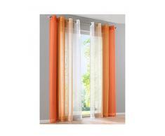 BAILEY JO 2Pcs Rideau Voilage LxH/140x245cm Dégradé de Couleur Orange Rideaux à Oeillet Décoration de Fenêtre Chambre/Salon / Balcon