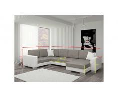 JUSTyou Marco Canapé d'angle panoramique Sofa Ensemble de Salon Tissu structuré (lxLxH): 145-206x303x86 cm Gris Angle Droit