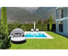 luxurygarden – Canapé de jardin rond en rotin Chaise longue Alia Marron ameublement de piscine de jardin terrasse ameublement pour extérieur