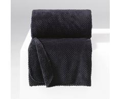 Douceur dIntérieur Jeté de Canapé Flanelle Calinou Polyester/Jacquard Noir 220 x 180 cm