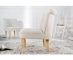 DuNord Design Baroque Fauteuil Beige Chaise rembourrée Dimension Rétro Design Baroque Fauteuil à oreilles Cocktail Fauteuil Lin, beige, Höhe 75cm Breite 35cm Tiefe 60cm