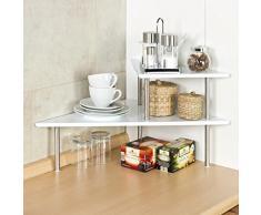 bremermann® Étagère de cuisine d'angle, étagère de cuisine, étagère à épices, blanc