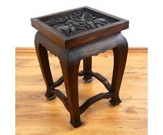 Livasia Table dopium, Table Basse | Table dappoint avec Sculpture Bois Massif | Décoration Asiatique Faite à la Main en Thaïlande (Marron foncé)