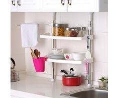 télescopique réglable de cuisine Rack à 2 étages Organiseur Pot à épices étagère de stockage ST-07 Chrome/blanc