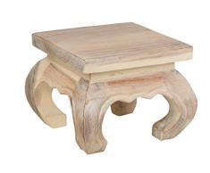 Table basse d'opium, 20x20x25 cm, artisanal, fait de massif bois, naturel