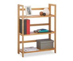 Relaxdays 10020283 Etagère en bambou 3 niveaux pliante meuble bois 3 étages pliant bibliothèque HxlxP: 95 x 69,5 x 30 cm, nature