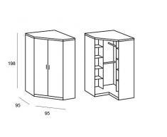 Armoire d'angle COOPER blanche avec 2 portes battantes